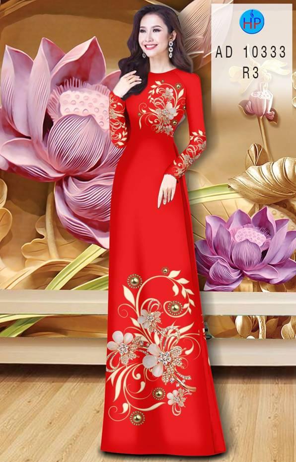 Vải Áo Dài Hoa In 3D AD 10333 3