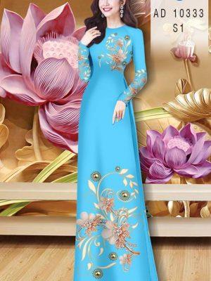 Vải Áo Dài Hoa In 3D AD 10333 24