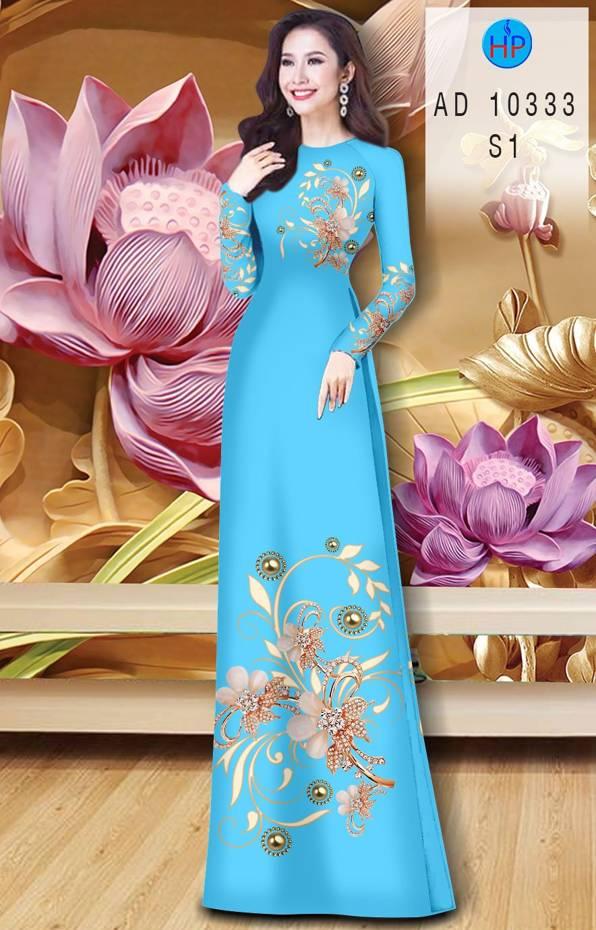 Vải Áo Dài Hoa In 3D AD 10333 5