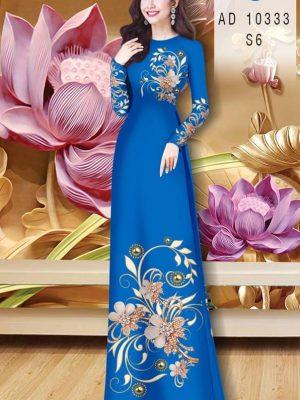 Vải Áo Dài Hoa In 3D AD 10333 25