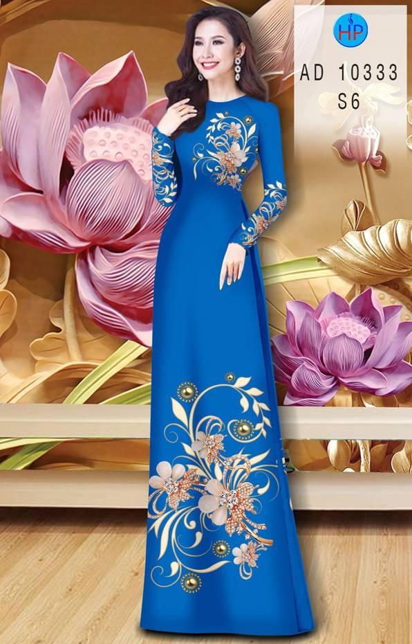 Vải Áo Dài Hoa In 3D AD 10333 6
