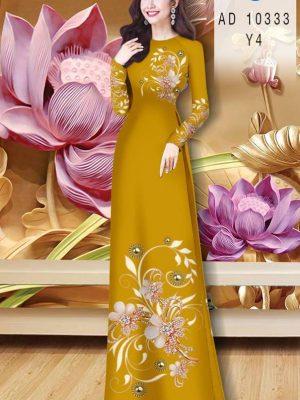 Vải Áo Dài Hoa In 3D AD 10333 26