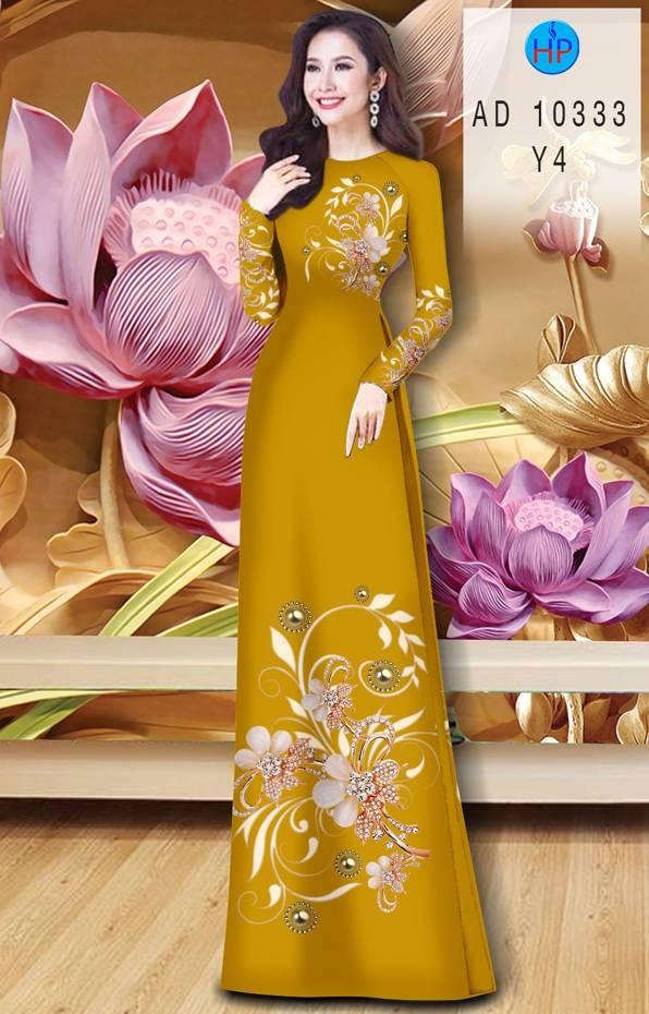 Vải Áo Dài Hoa In 3D AD 10333 7