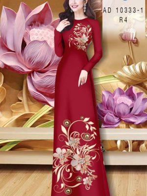 Vải Áo Dài Hoa In 3D AD 10333 28