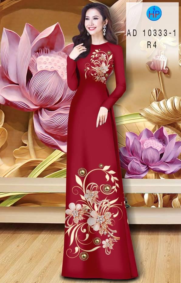 Vải Áo Dài Hoa In 3D AD 10333 9