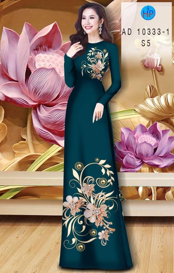 Vải Áo Dài Hoa In 3D AD 10333 10