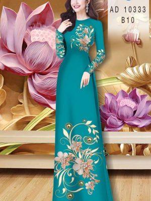 Vải Áo Dài Hoa In 3D AD 10333 30