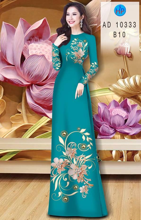 Vải Áo Dài Hoa In 3D AD 10333 11
