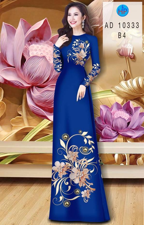 Vải Áo Dài Hoa In 3D AD 10333 12
