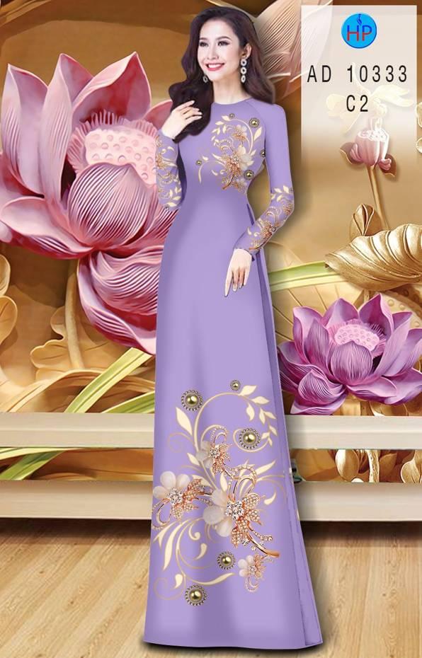 Vải Áo Dài Hoa In 3D AD 10333 13