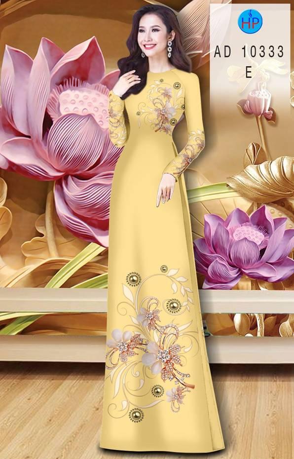Vải Áo Dài Hoa In 3D AD 10333 14