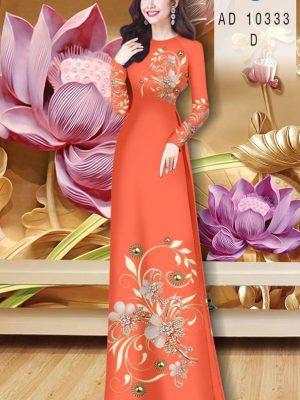 Vải Áo Dài Hoa In 3D AD 10333 34