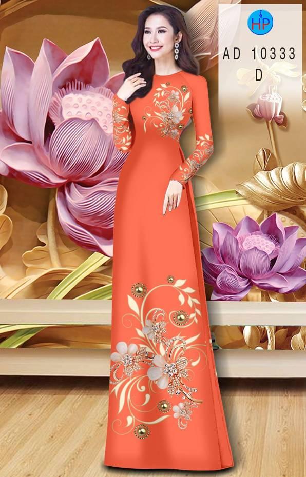 Vải Áo Dài Hoa In 3D AD 10333 15