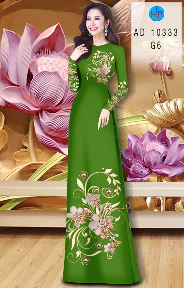 Vải Áo Dài Hoa In 3D AD 10333 16