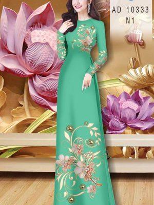 Vải Áo Dài Hoa In 3D AD 10333 36