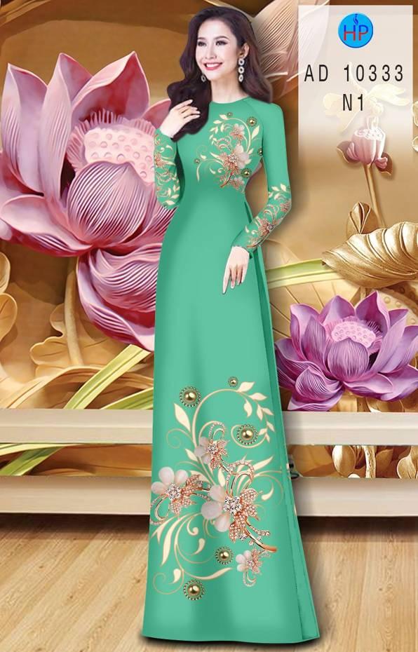 Vải Áo Dài Hoa In 3D AD 10333 17