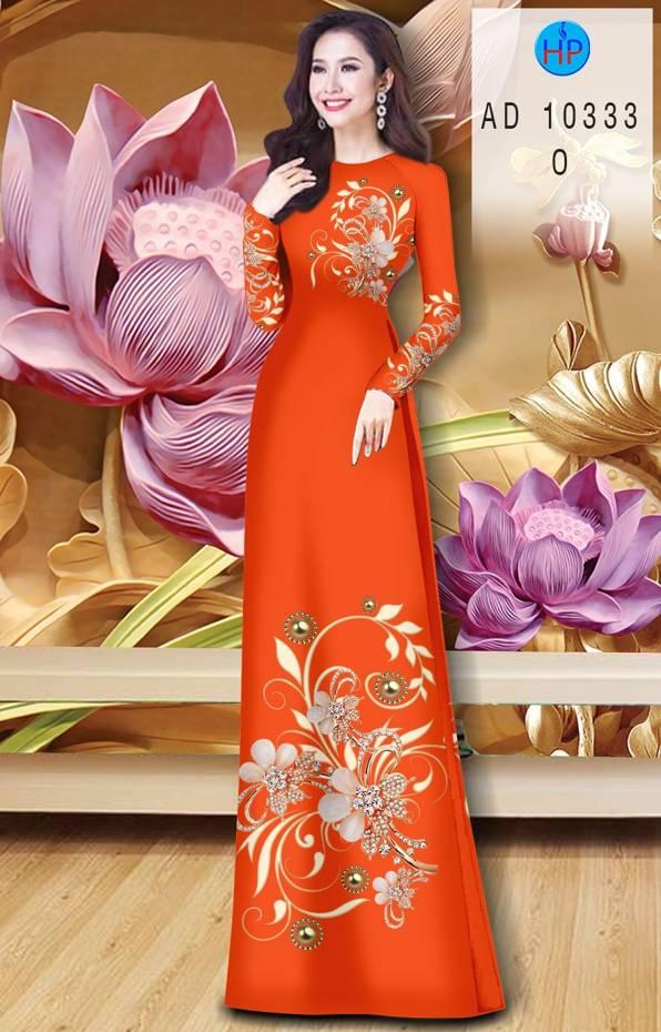 Vải Áo Dài Hoa In 3D AD 10333 18