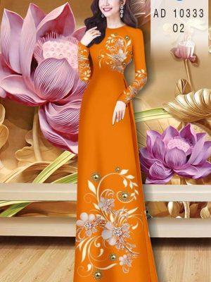 Vải Áo Dài Hoa In 3D AD 10333 38