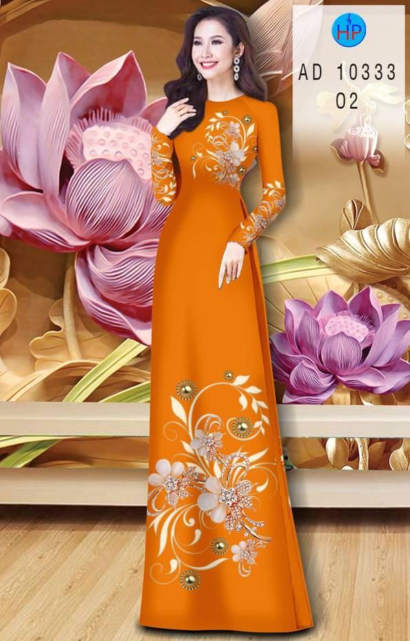 Vải Áo Dài Hoa In 3D AD 10333 19