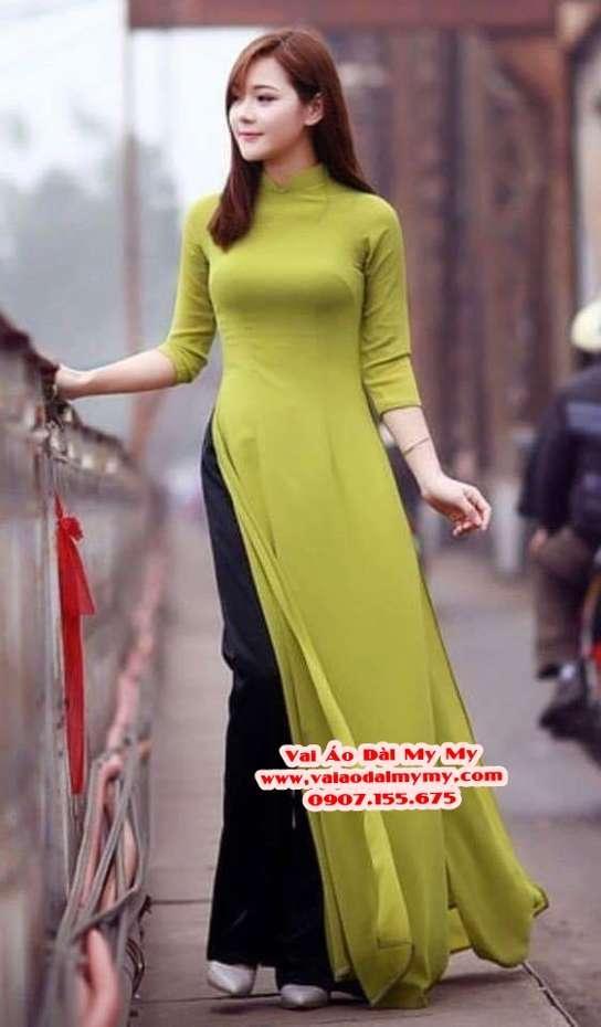 Vải Áo Dài Thái Tuấn Trơn Màu Xanh Cốm AD TRON XanhCom 1