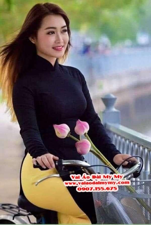 Vải Áo Dài Thái Tuấn Trơn Màu Xanh Đen AD TRON Xanhden 1