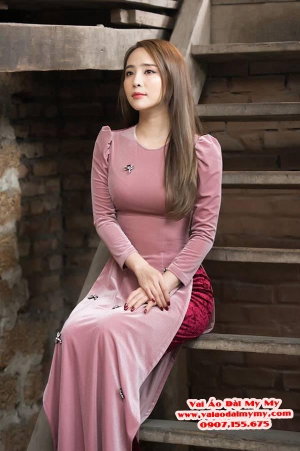 Vải Áo Dài Nhung Màu Hồng Da AD NHUNG HongDa 1