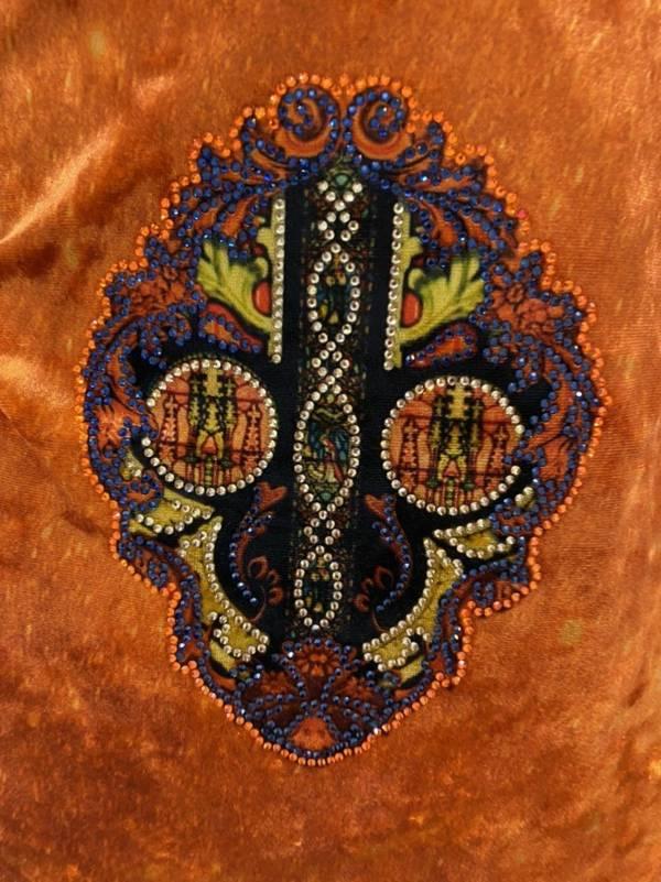 Vải Áo Dài Nhung Cam Hoa Văn Trang Trí AD DL 9194 3