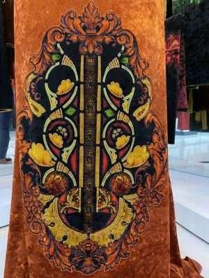 Vải Áo Dài Nhung Cam Hoa Văn Trang Trí AD DL 9194 9