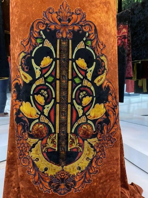 Vải Áo Dài Nhung Cam Hoa Văn Trang Trí AD DL 9194 4