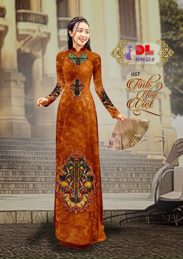Vải Áo Dài Nhung Cam Hoa Văn Trang Trí AD DL 9194 1