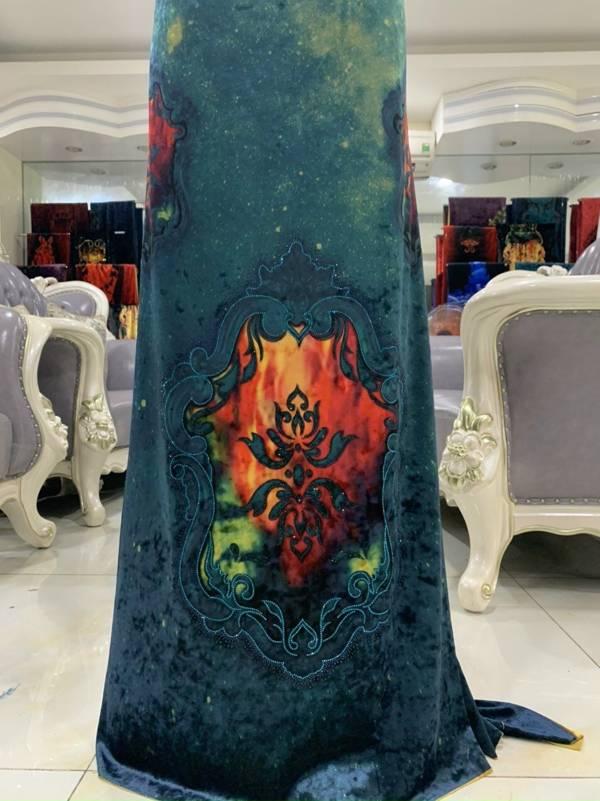 Vải Áo Dài Nhung In Hoa Văn AD 9195 4