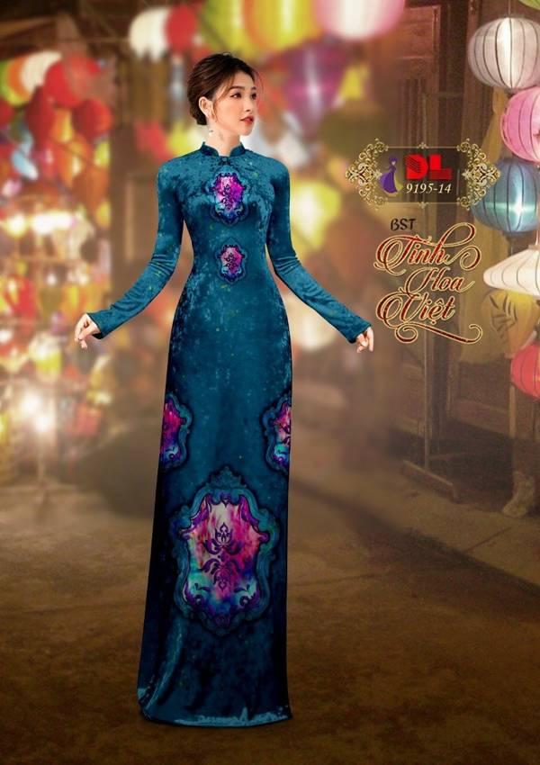 Vải Áo Dài Nhung In Hoa Văn AD 9195 1