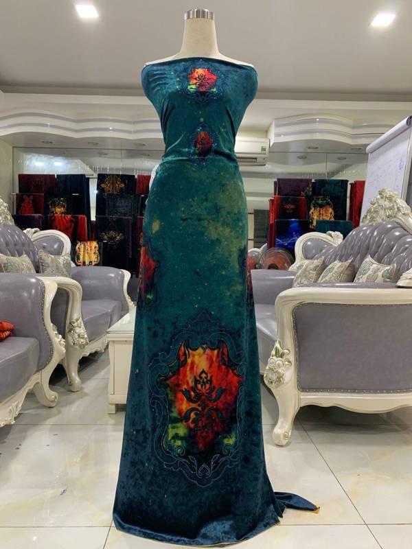 Vải Áo Dài Nhung In Hoa Văn AD 9195 2