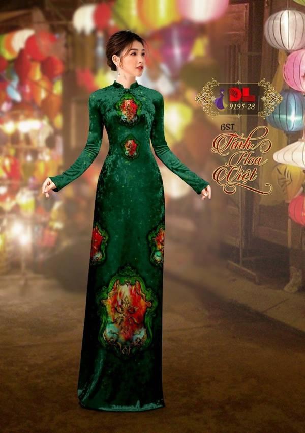 Vải Áo Dài Nhung Hoa Văn AD DL 9195 1