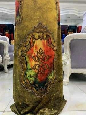 Vải Áo Dài Nhung Vàng Hoa Van Cao Cấp AD DL 9195 7