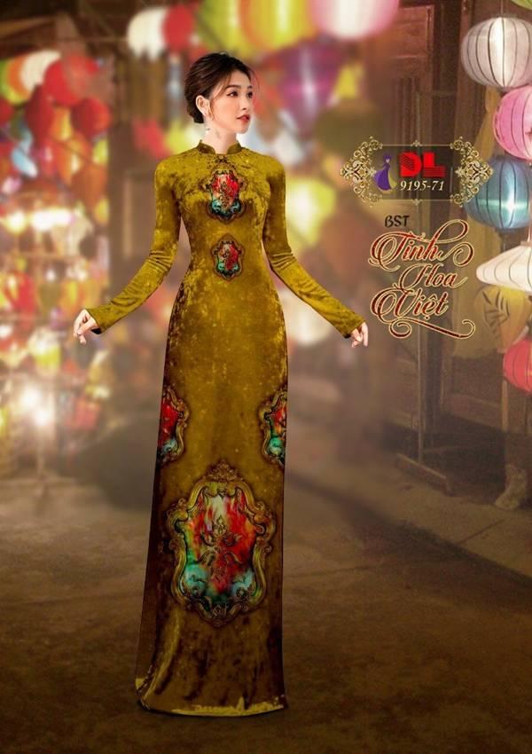 Vải Áo Dài Nhung Vàng Hoa Van Cao Cấp AD DL 9195 1