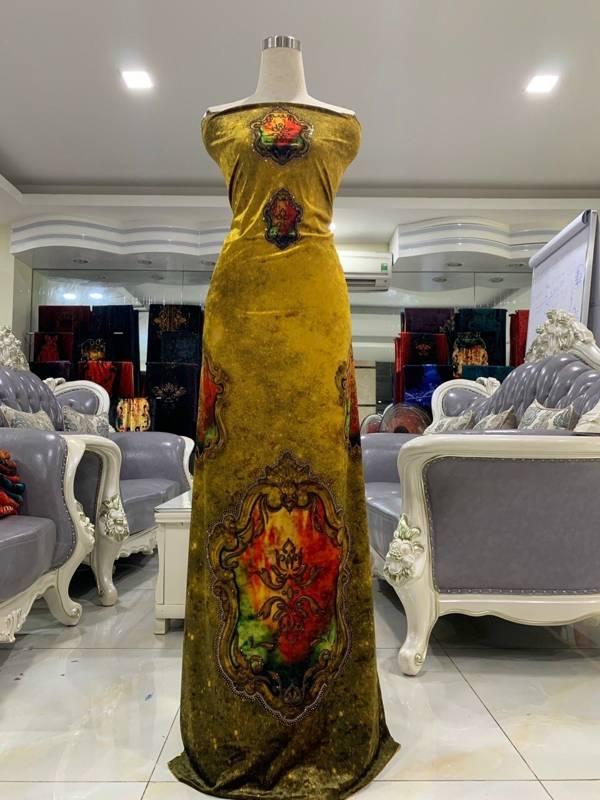 Vải Áo Dài Nhung Vàng Hoa Van Cao Cấp AD DL 9195 2