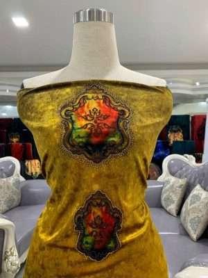 Vải Áo Dài Nhung Vàng Hoa Van Cao Cấp AD DL 9195 9