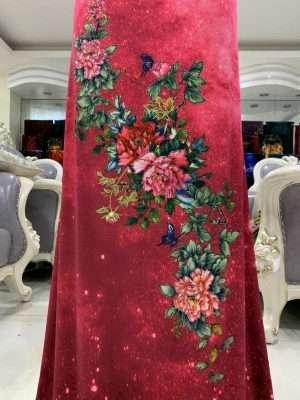 Vải Áo Dài Nhung Hoa Cẩm Chướng AD DL 9203 7