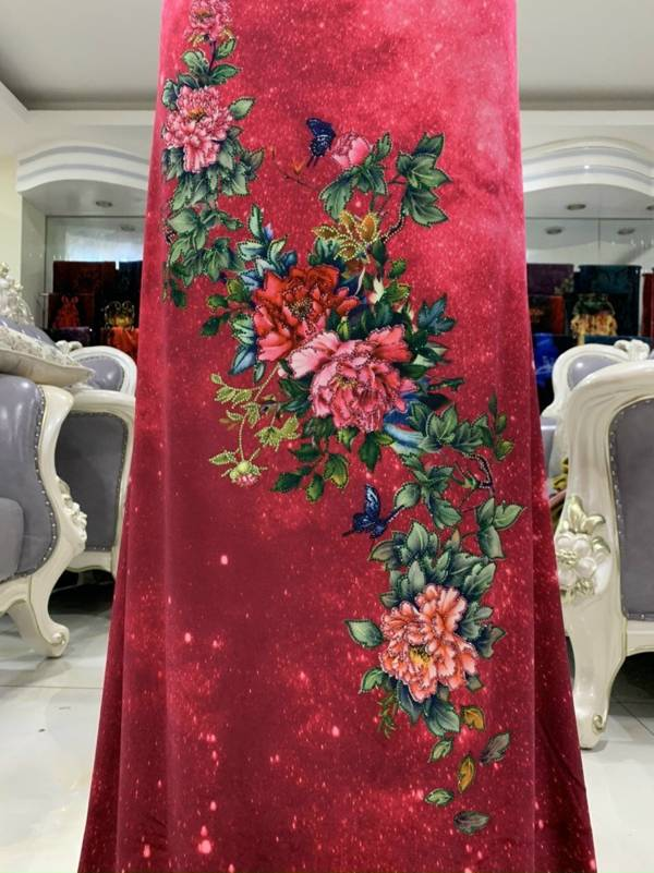 Vải Áo Dài Nhung Hoa Cẩm Chướng AD DL 9203 3
