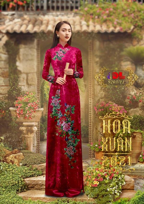 Vải Áo Dài Nhung Hoa Cẩm Chướng AD DL 9203 1