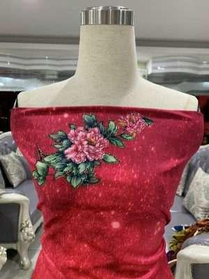 Vải Áo Dài Nhung Hoa Cẩm Chướng AD DL 9203 8