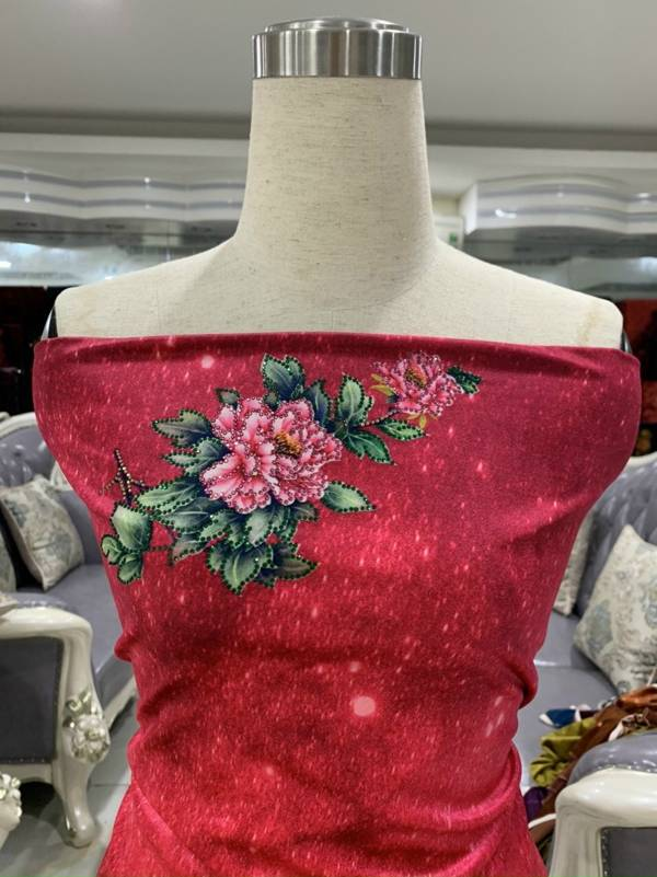 Vải Áo Dài Nhung Hoa Cẩm Chướng AD DL 9203 4