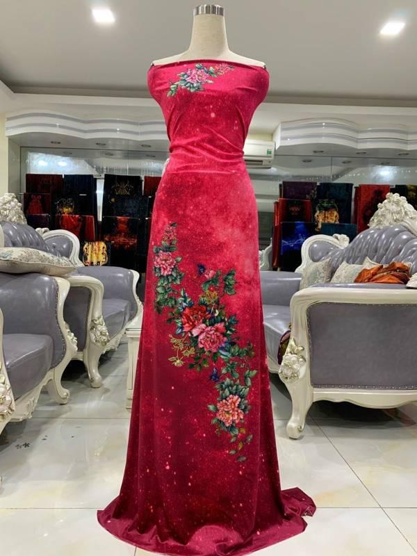 Vải Áo Dài Nhung Hoa Cẩm Chướng AD DL 9203 2