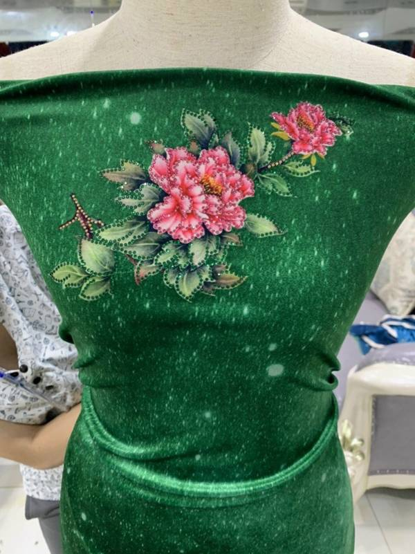 Vải Áo Dài Nhung Xanh Hoa Cẩm Chướng AD DL 9203 3