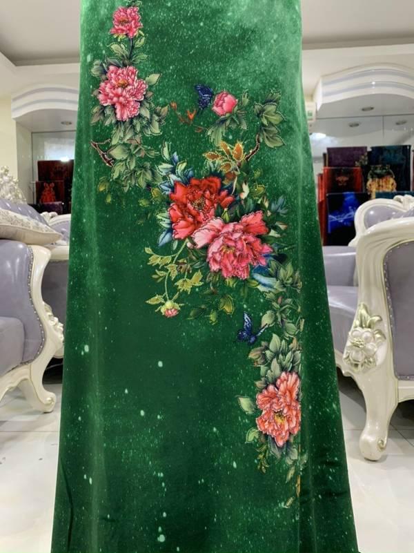 Vải Áo Dài Nhung Xanh Hoa Cẩm Chướng AD DL 9203 4