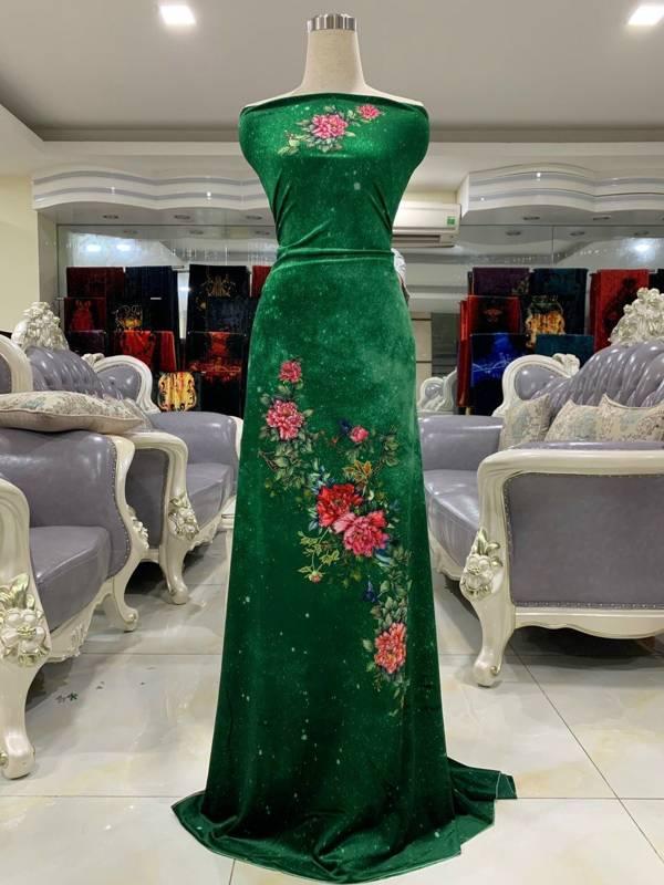 Vải Áo Dài Nhung Xanh Hoa Cẩm Chướng AD DL 9203 2