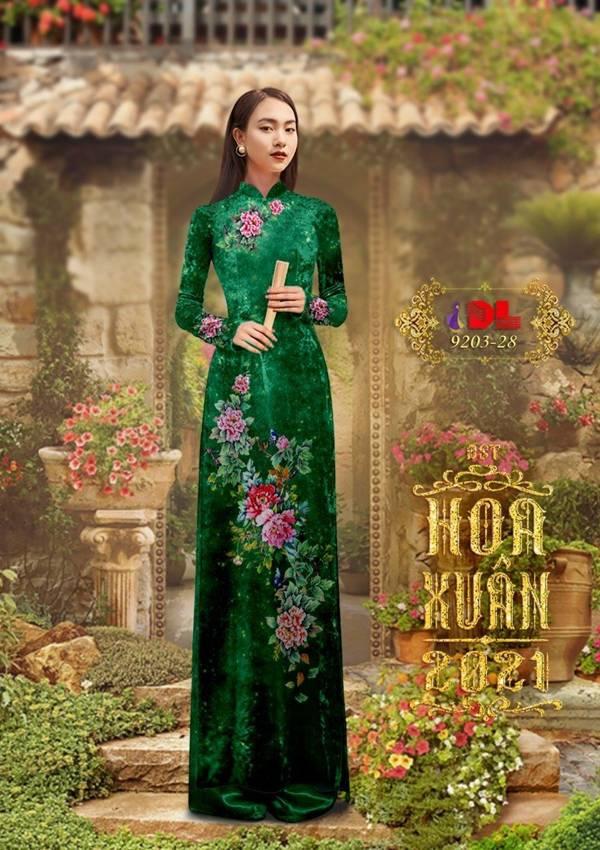 Vải Áo Dài Nhung Xanh Hoa Cẩm Chướng AD DL 9203 1