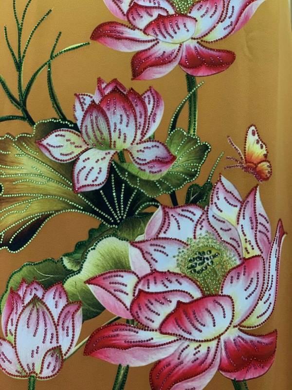 Vải Áo Dài Nhung In Hoa Sen Đinh Đá AD NhungHoaSen 19