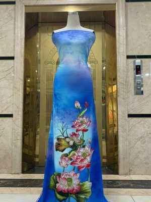 Vải Áo Dài Nhung In Hoa Sen Đinh Đá AD NhungHoaSen 26